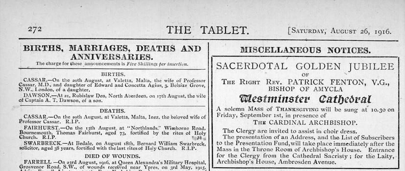 Tablet 26th August 1916 - Inez Cassar