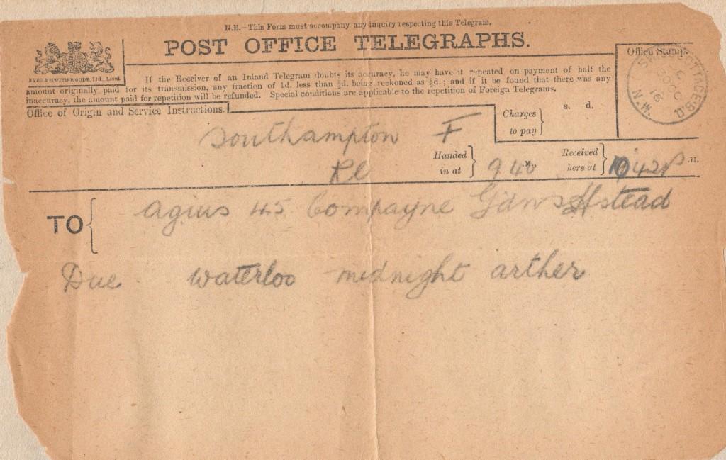 Telegram 30th October