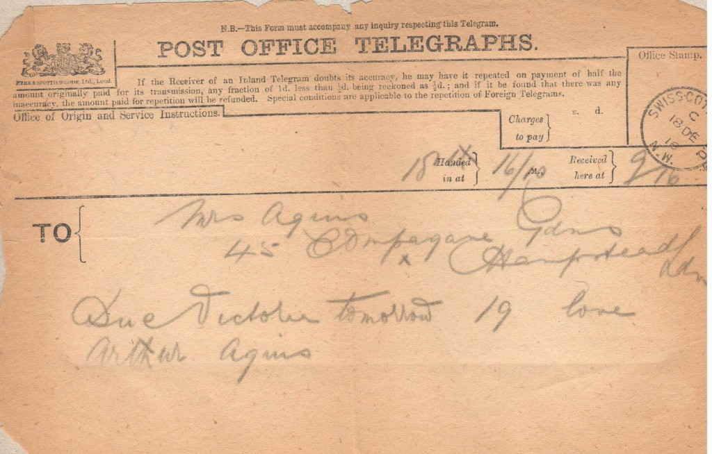 Telegram 18th December 1916