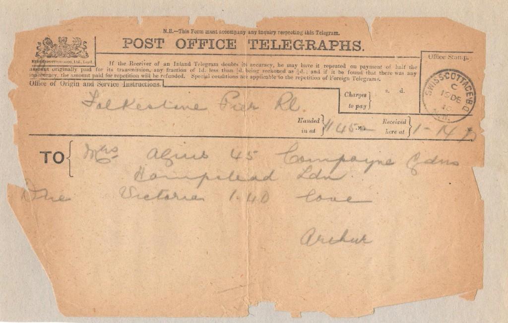 Telegram 19th December 1916