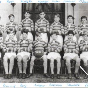 1955 1st XV. Standing: Hanbury, Rose, Mellotte, Maddock, Carter, Amhurst, Gibson      Sitting: Church Bruning, Diez, Andrews, Moorsom, Gleadell, Eugster