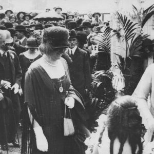 Marie and Suzanne Agius presenting bouquets to Queen Elena and Queen Mary