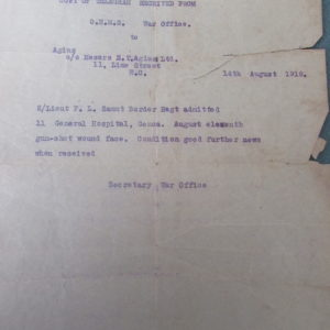 Notification of Frank's wound to his sister Maggie Agius in London, via the Agius office in the City.
