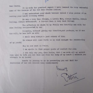 Condolence letter on Frank's death in 1967.